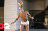 Watch Cristiano Ronaldo Juggle a Soccer Ball in his Underwear for GQ