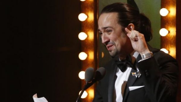 "Lin-Manuel Miranda of ""Hamilton"" accepts the award for Best Original Score during the American Theatre Wing's 70th annual Tony Awards in New York, U.S., June 12, 2016. REUTERS/Lucas Jackson"