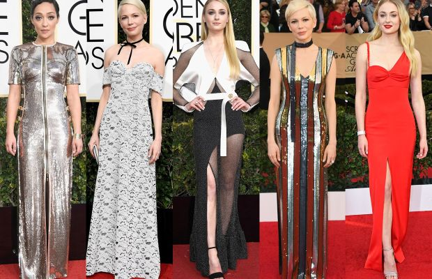 Ruth Negga, Michelle Williams at the Golden Globes,Sophie Turner at the Golden Globes, Michelle Williams at the SAG Awards and Sophie Turner at the SAG Awards.Photos: Getty Images
