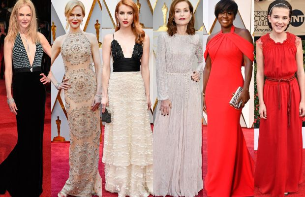 Nicole Kidman at the BAFTAs and the Oscars, Emma Roberts, Isabelle Huppert at the Oscars,Viola Davis andMillie Bobby Brown. Photos: Getty Images