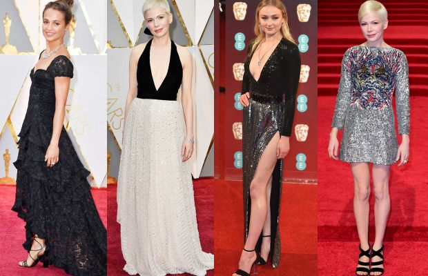 Alicia Vikander,Michelle Williams at the Oscars,Sophie Turner at the BAFTAs and Michelle Williams at the BAFTAs. Photos: Getty Images