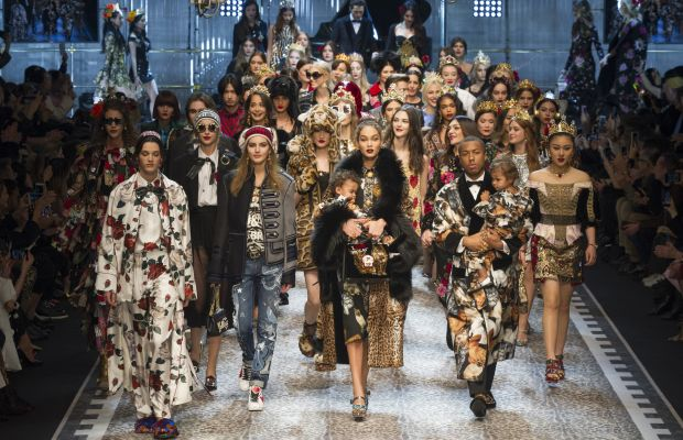 The finale of the Dolce & Gabbana Fall 2017 runway show. Photo: Imaxtree