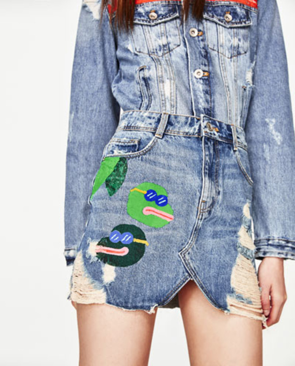 Zara's Pepe-embroidered skirt. Photo: Zara