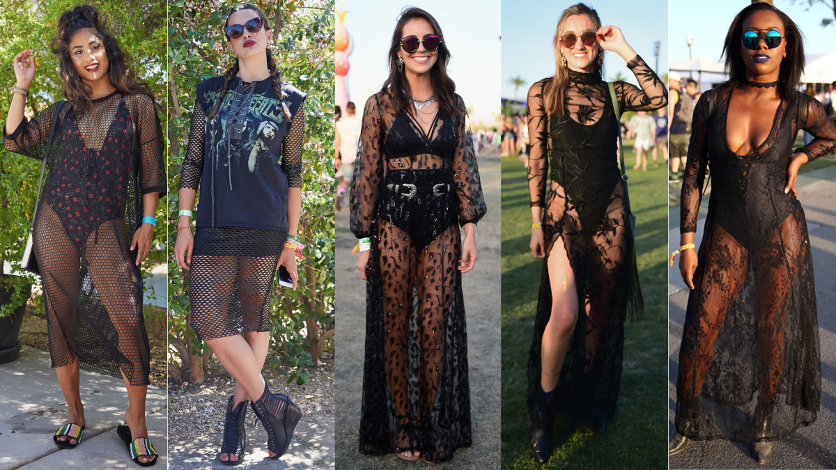 Sheer black dresses spotted at Coachella. Photos: Xin Wang/Fashionista (2), Emma McIntyre/Getty Images (2), Rich Fury/Getty Images